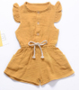 Girls Muslin Jumpsuit Rompers with Ruffle Sleeves